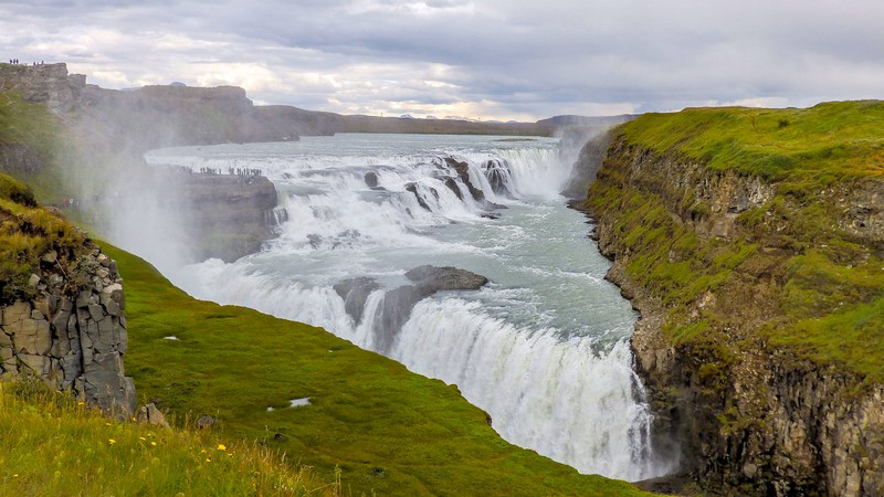 Circuit en Islande dans le Golden circle, chute d'eau de Gulfoss
