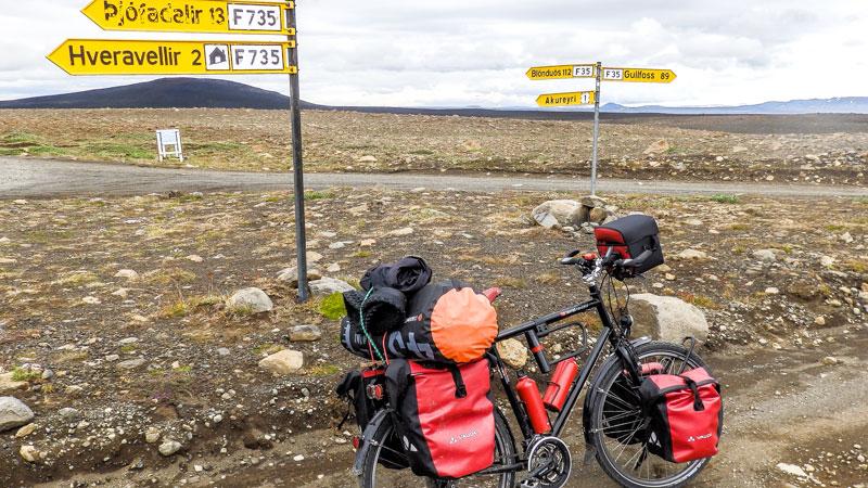 Islande à vélo sur la piste Kjolur à Hveravellir