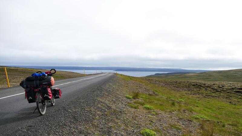 Islande à vélo dans le nord sur la péninsule de Trollaskagi