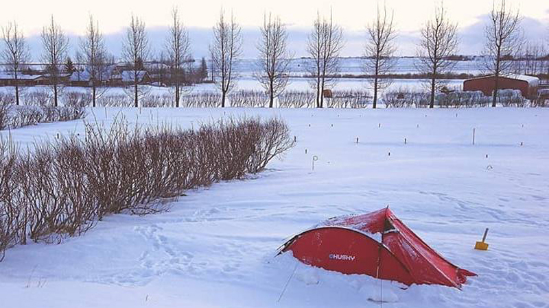 Bivouac en Islande à vélo en hiver